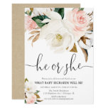 Rustic floral gender reveal, white pink magnolia invitation