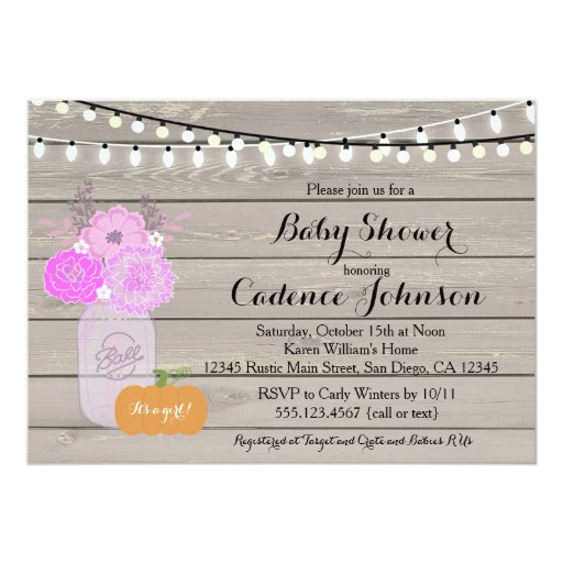Rustic Floral Girl Purple Baby Shower Invite