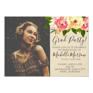 Rustic floral graduation party invite