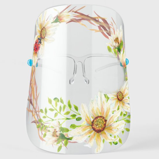 Rustic Floral Grapevine Wreath Daisies Ladybug Face Shield