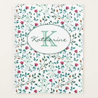 Rustic Floral & Green Foliage Pattern Personalized Planner