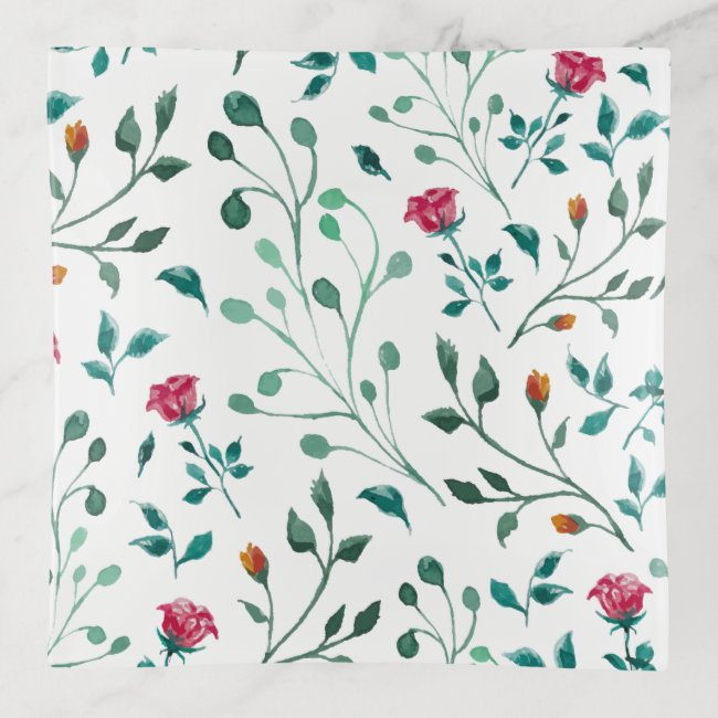 Rustic Floral & Green Foliage Pattern