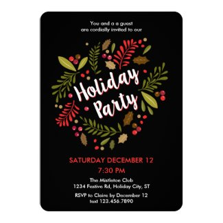 Rustic Floral Holiday Party Invitation