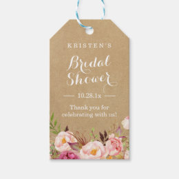 Gift tags favor tags zazzle rustic floral kraft bridal shower thank you gift tags negle Choice Image