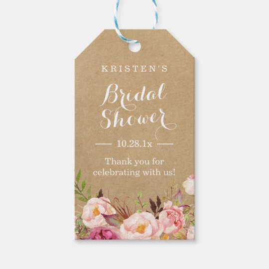 Rustic Floral Kraft | Bridal Shower Thank You Gift Tags | Zazzle.com