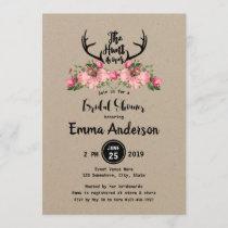 Rustic Floral Kraft Hunt is Over Bridal Shower Invitation