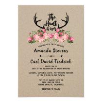Rustic Floral Kraft Hunt is Over Wedding Invitation