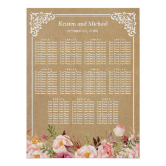 Rustic Floral Kraft Look | Wedding Seating Chart