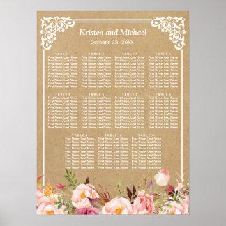 Rustic Floral Kraft Look   Wedding Seating Chart