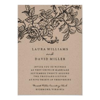 "Rustic Floral Kraft Rose Garden Wedding Invitation 5"" X 7"" Invitation Card"