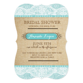 Rustic Floral Lace Bridal Shower Invitations