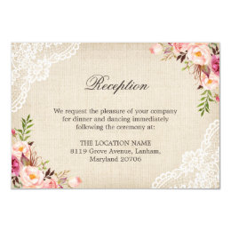 Rustic Floral Lace Burlap Reception Accommodation Card