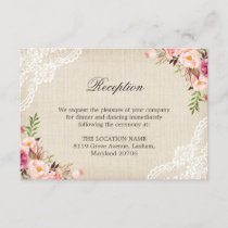 Rustic Floral Lace Burlap Reception Accommodation Enclosure Card