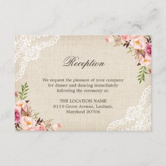 Rustic Floral Lace Burlap Reception Accommodation Enclosure Card