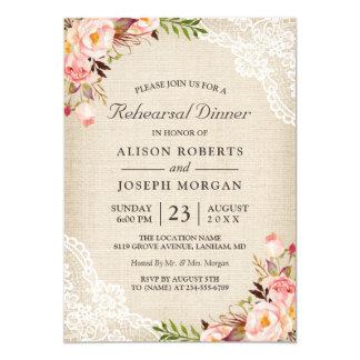 Rustic Floral Lace Burlap Wedding Rehearsal Dinner Invitation