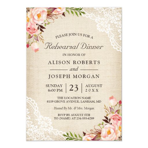 Rustic Floral Lace Burlap Wedding Rehearsal Dinner Invitation