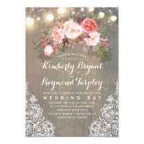 Rustic Floral Lace String Lights and Wood Wedding Invitation