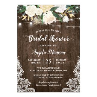 Rustic Floral Lace String Lights Bridal Shower Card