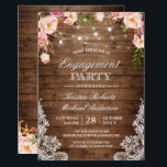 "Rustic Floral Lace String Lights Engagement Party Invitation<br><div class=""desc"">Celebrate your engagement with this ""Rustic Floral Lace String Lights Engagement Party invitation"" template. With our easy-to-use design tool, you can easily customize it to be uniquely yours. (1) For further customization, please click the ""customize further"" link and use our design tool to modify this template. (2) If you prefer...</div>"