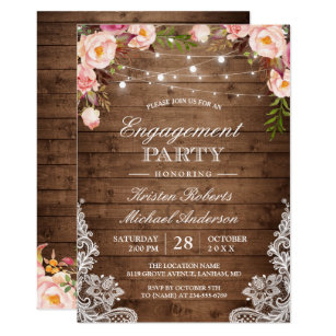 String Lights Engagement Party Invitations Announcements Zazzle