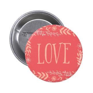 Rustic Floral Love | Pinkish Orange 2 Inch Round Button