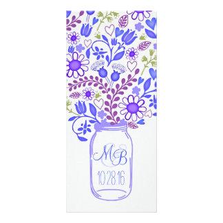 rustic floral mason jar blue wedding programs rack card template