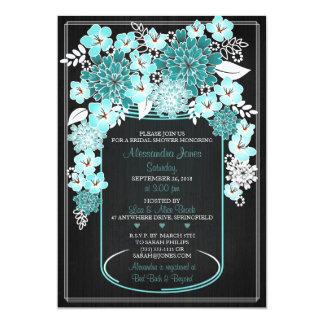 Rustic Floral Mason Jar Chalkboard Bridal Shower 4 5x7 Paper Invitation Card