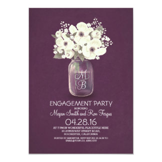 rustic floral mason jar engagement party 5x7 paper invitation card