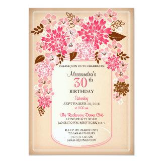 Rustic Floral Mason Jar Parchment Birthday 1 Card