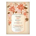 "Rustic Floral Mason Jar Parchment Birthday 2 5"" X 7"" Invitation Card"