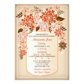 Rustic Floral Mason Jar Parchment Bridal Shower 2 Card
