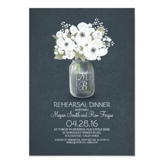 rustic floral mason jar rehearsal dinner 5x7 paper invitation card