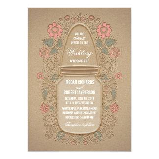 Rustic Floral Mason Jar Wedding Card
