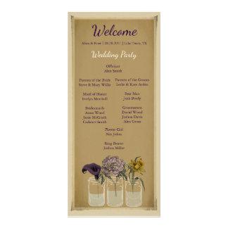 Rustic Floral Mason Jar Wedding Ceremony Program