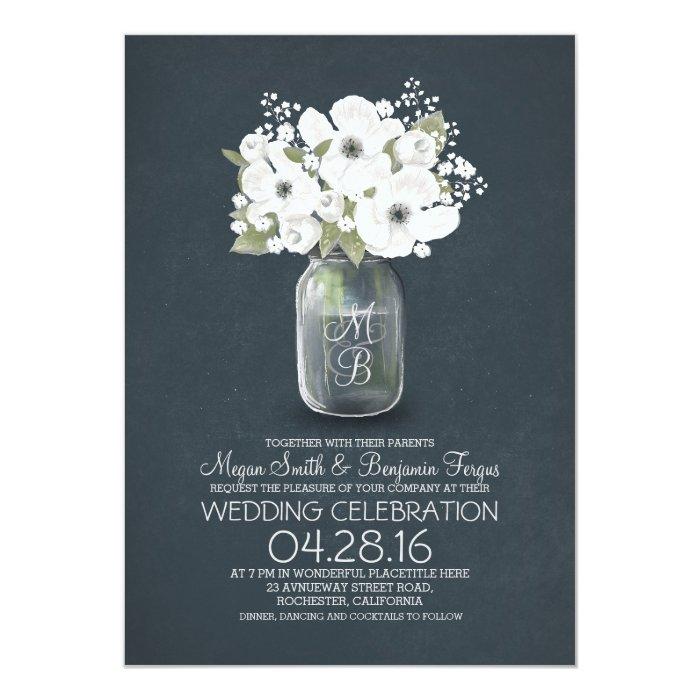 Rustic Mason Jar Floral Wedding Invitations Burgundy: Rustic Floral Mason Jar Wedding Invitation
