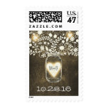 rustic floral mason jar wedding postage stamps