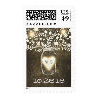 rustic floral mason jar wedding postage stamps