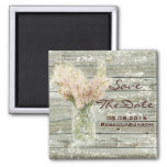 rustic floral mason jar wedding save the date 2 inch square magnet