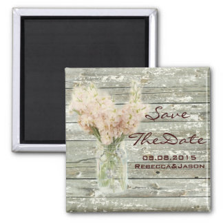 rustic floral mason jar wedding save the date magnet