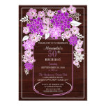 Rustic Floral Mason Jar Wood Grain Birthday 3 5x7 Paper Invitation Card