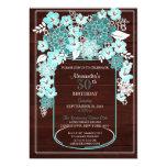 Rustic Floral Mason Jar Wood Grain Birthday 4 Card