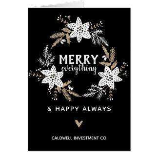 Rustic Floral Merry Everything Corporate Holiday Card