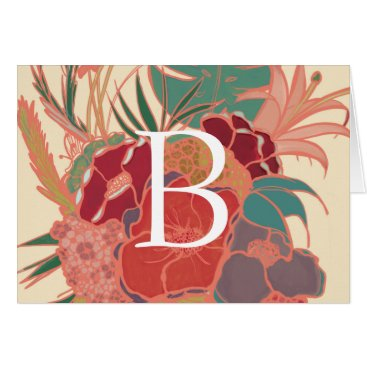 Beach Themed Rustic Floral Monogram Blank Note Card