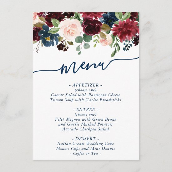 Rustic Floral | Navy Blue Burgundy Red Bouquet Menu