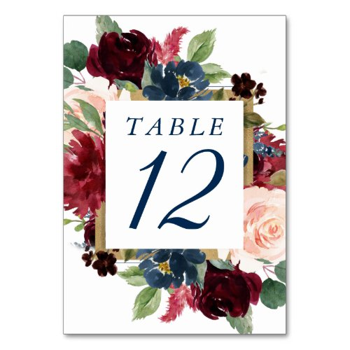 Rustic Floral  Navy Blue Burgundy Red Gold Frame Table Number
