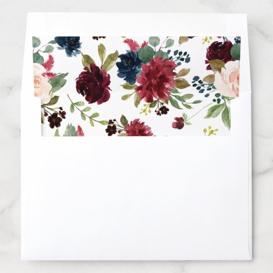 Rustic Floral | Navy Blue Burgundy Red Pattern Envelope Liner