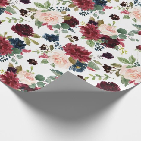 Rustic Floral | Navy Burgundy Marsala Red Blush Wrapping Paper