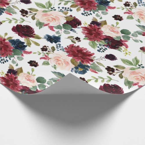 Rustic Floral  Navy Burgundy Marsala Red Blush Wrapping Paper