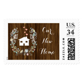 Rustic Floral New Home Postage Stamps