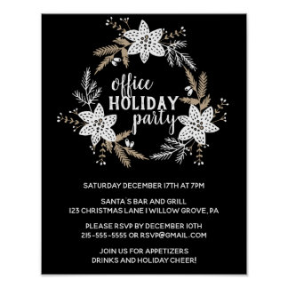 Rustic Floral Office Holiday Party Poster